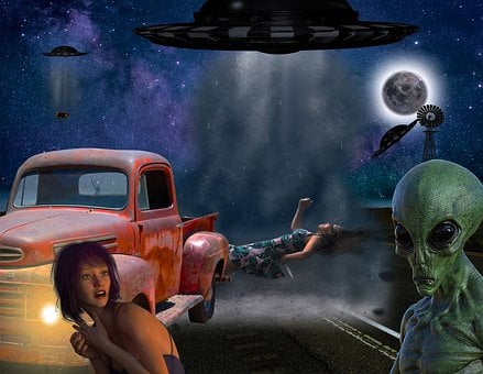 Aliens, Alien Abduction, Flying Saucers, Road, Moon