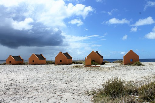 Caribian, Sea, Cottages, Beach, Coast, Slave Huts, Sky