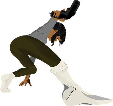 Black Woman With Revolver, Black Girl With Revolver