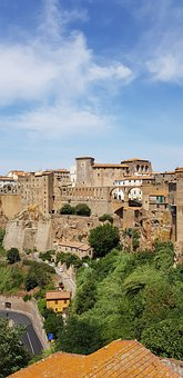 Italy, Pitigliano, Overview, House, Sky, Blue
