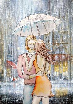 Couple, Love, Rain, Umbrella
