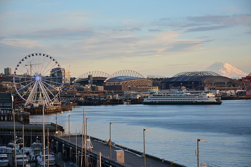 Seattle, Mt, Rainier, Washington, Travel, Waterfront