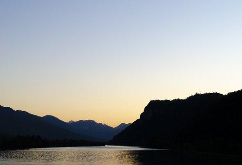 Nature, Sunset, Landscape, Evening, Mountains, Lake