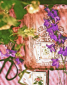 Watercolor Painting, Floral, Book, Playing Cards