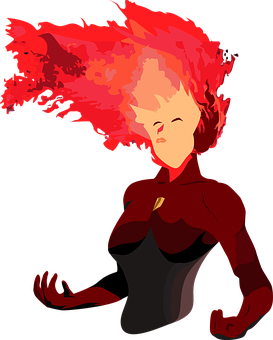 Hero With Hair On Fire, Woman With Blazing Hair