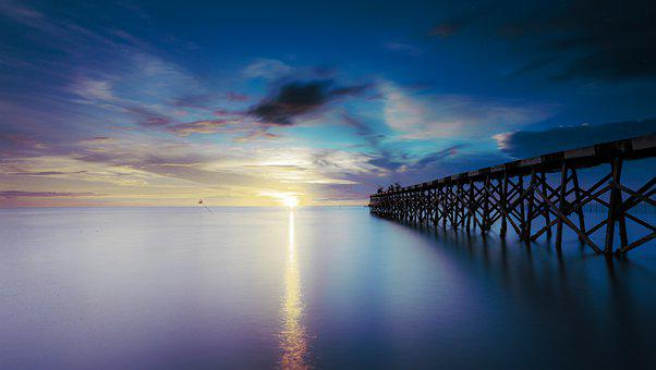 Twilight, Beach, Bridge, Water, The Sea