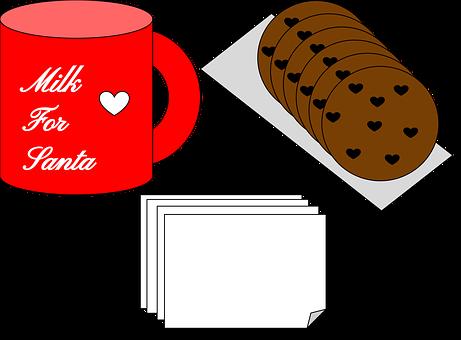 Santa, Christmas, Christmas Dinner, Cookies, Milk