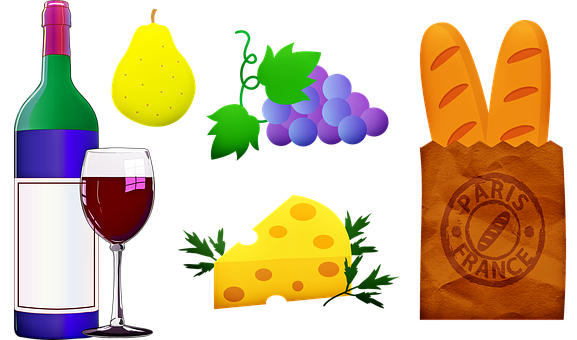 Wine And Cheese, Wine, Bread, Fruit, French, France