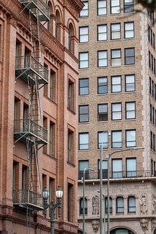 Los Angeles, City, House, Skyscraper, Ladders, Urban