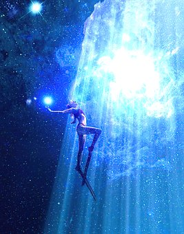 Space, Fantasy, Art, Galaxy, Girl, Ocean, Sea, Deep