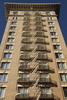 Fire Escape, Staircase, Outside, Building, Urban