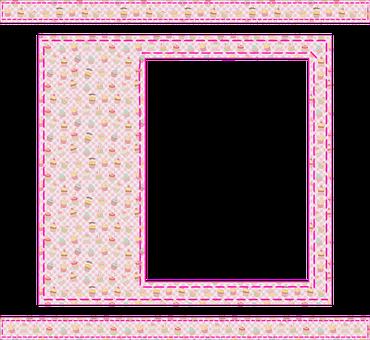 Cupcake Pattern, Frame, Stitch, Border, Black, Template