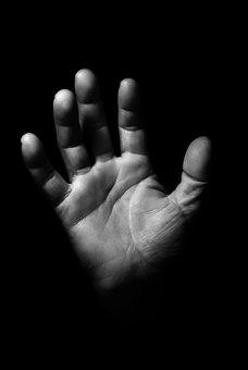 Hand, Man, Male, Dark, Background, Black, Shadow
