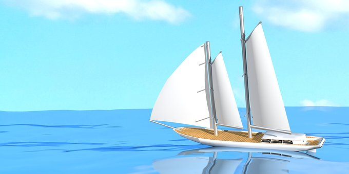 Sailing Boat, Yacht, Sail, Sea, Waters, Sky, Ocean
