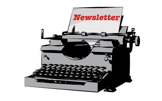 Typewriter, Newsletter, Write, Tap, Paper, Marketing