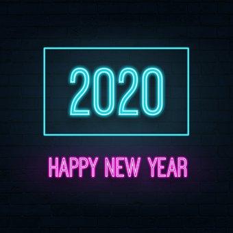 Happy New Year, 2020, Neon, Christmas