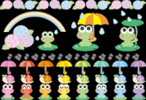 Kawaii Frog, Kawaii Snails, Rainbow, Rainy Season
