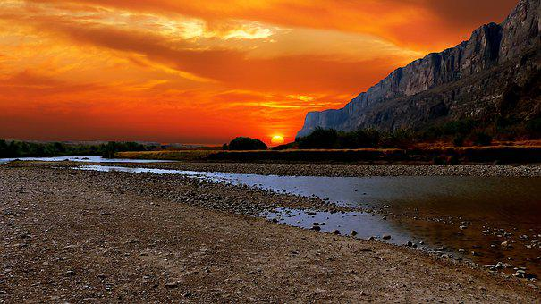 Sunset, America, New Mexico, River, Rio Grande, Border