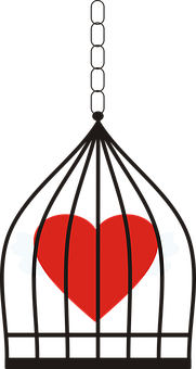 Cage, Single, Pendant, Heart, Love, Romantic, Red