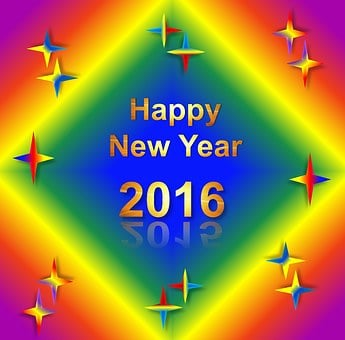 New Year, 2016, Rainbow, Gradient, Colors, Shiny, Sheen