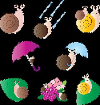 Snails, Rainy Season, Kawaii, Asian, Rainbow, Oriental