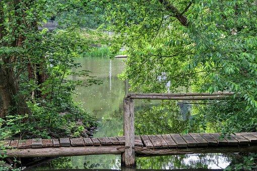 Steeg, Bridge, Lake, Atmospheric, Wooden Bridge, Water