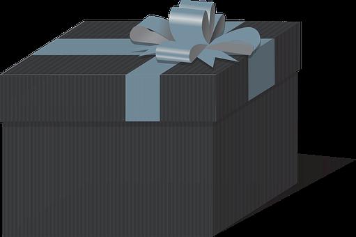 Box Set, Gift, Box, Blue Ribbon, Bow, Christmas