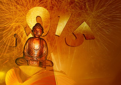 Buddha, Buddhism, Fireworks