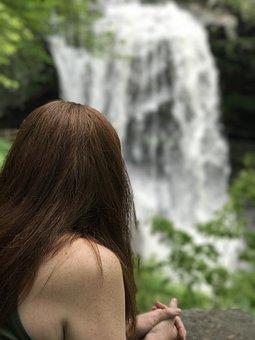 Water Falls, Redhead, Nature, Girl, Woman