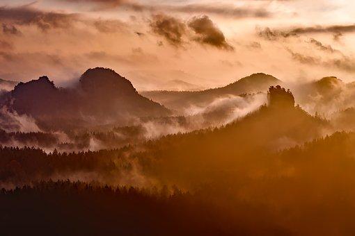 Germany, Alps, Sunrise, Morning, Fog, Mountains, Sky