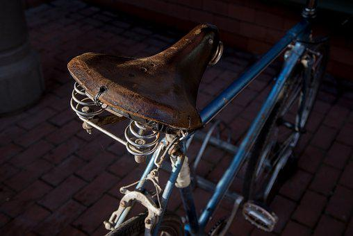 Bicycle, Saddle, Leather, Worn Out, Blue, Frame, Metal