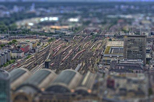 Tilt Shift, Bokeh, Frankfurt, Railway Station, Train
