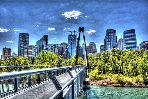 Calgary, City, Canada, Alberta, Skyline, River, Bow