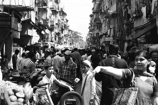 Crowd, Crowded, Street, People, Mumbai, City, India