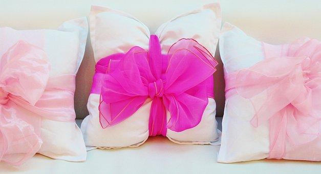 Pillow, Sofa Cushions, Loop, Sofa, Pink, White, Decor