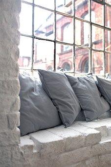 Pillow, Pillows, Window, Interior, Design, Brick