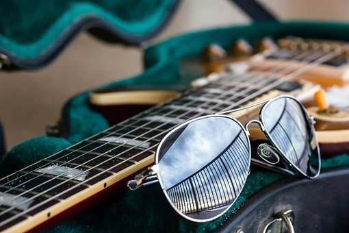 Guitar, Aviator, Sunglasses, Fashion, Sand, Music, Rock