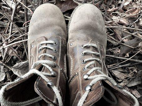 Boots, Shoe, Old, Worn, Hiking Shoes, Fashion