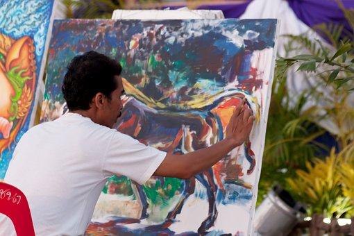 Artist, Finger Painting, Art, Reliefs, Thailand