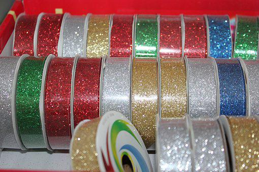 Tapes, Flakes, Gleaming, Decorations, Gift, Christmas