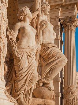 France, Marseille, Statue, Palais, Longchamp
