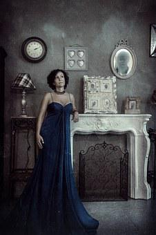 Portrait, Woman, Clock, Fireplace, Ghosts, View, Photo