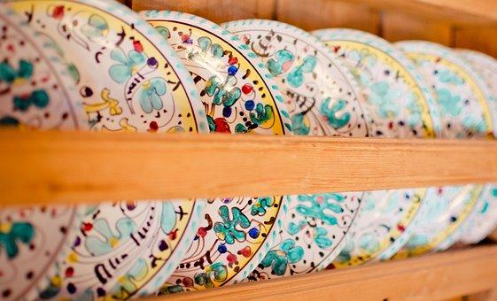 Dish Shelf, Plate, Painted, Handmade, Frame