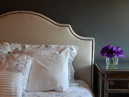 Bed, Pillows, Bedroom, Headboard, Furniture
