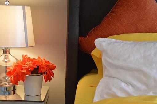 Bed, Lamp, Bedside, Pillows, Flower, Bedroom, House