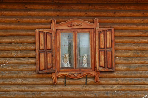 Shutters, Window, Old House, Trims, House, Log, Frame