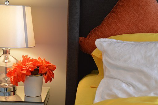 Bed, Lamp, Bedside, Pillows, Flower, Bedroom, House