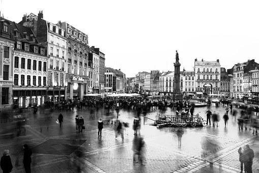 Long Exposure, Lille, Black And White, Street, City