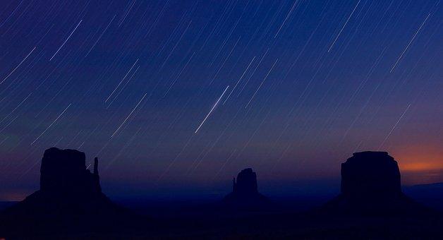 Startrails, Monument Valley, Night, Arizona, Blue Night