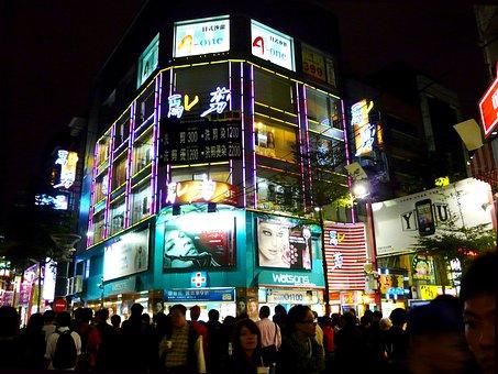 Night, View, Shopping, City, Ximending, Taipei, Taiwan